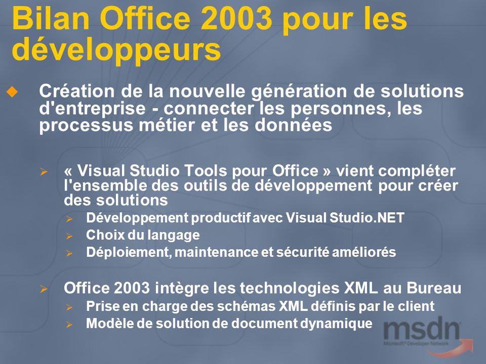 Bilan Office 2003 pour les développeurs Création de la nouvelle génération de solutions d'entreprise - connecter les personnes, les processus métier e