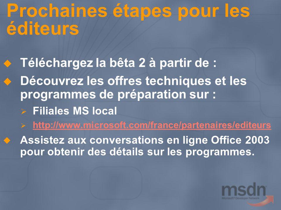 Prochaines étapes pour les éditeurs Téléchargez la bêta 2 à partir de : Découvrez les offres techniques et les programmes de préparation sur : Filiale