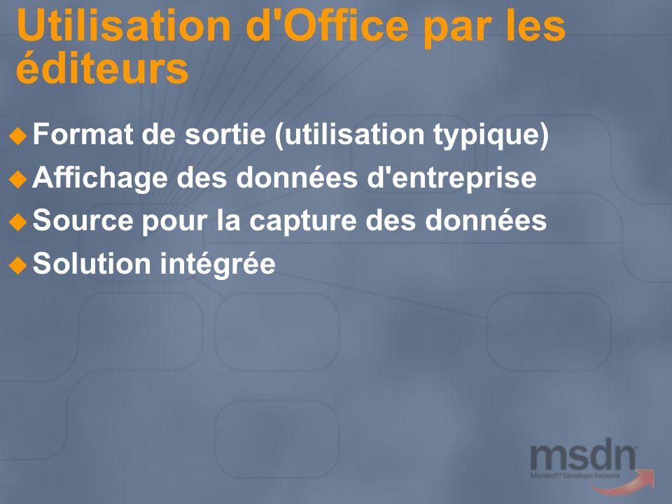 Utilisation d Office par les éditeurs Format de sortie (utilisation typique) Affichage des données d entreprise Source pour la capture des données Solution intégrée