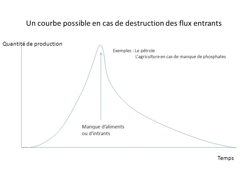Un courbe possible en cas de destruction des flux entrants Manque daliments ou dintrants Quantité de production Temps Exemples : Le pétrole Lagricultu