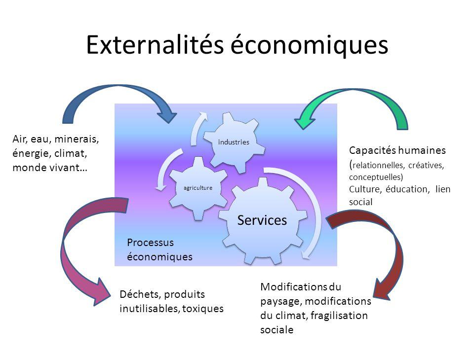 Externalités économiques Services agriculture industries Processus économiques Air, eau, minerais, énergie, climat, monde vivant… Capacités humaines (