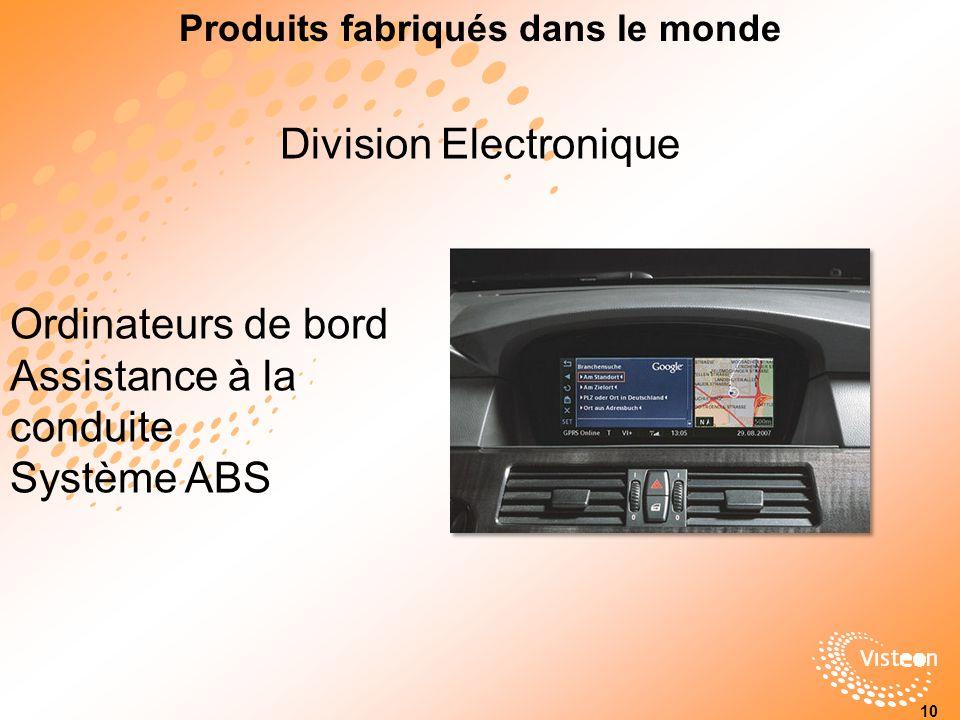 Division Electronique Ordinateurs de bord Assistance à la conduite Système ABS Produits fabriqués dans le monde 10