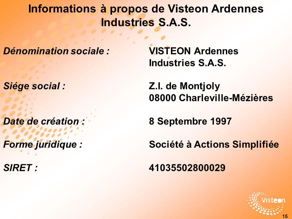 Dénomination sociale : VISTEON Ardennes Industries S.A.S.