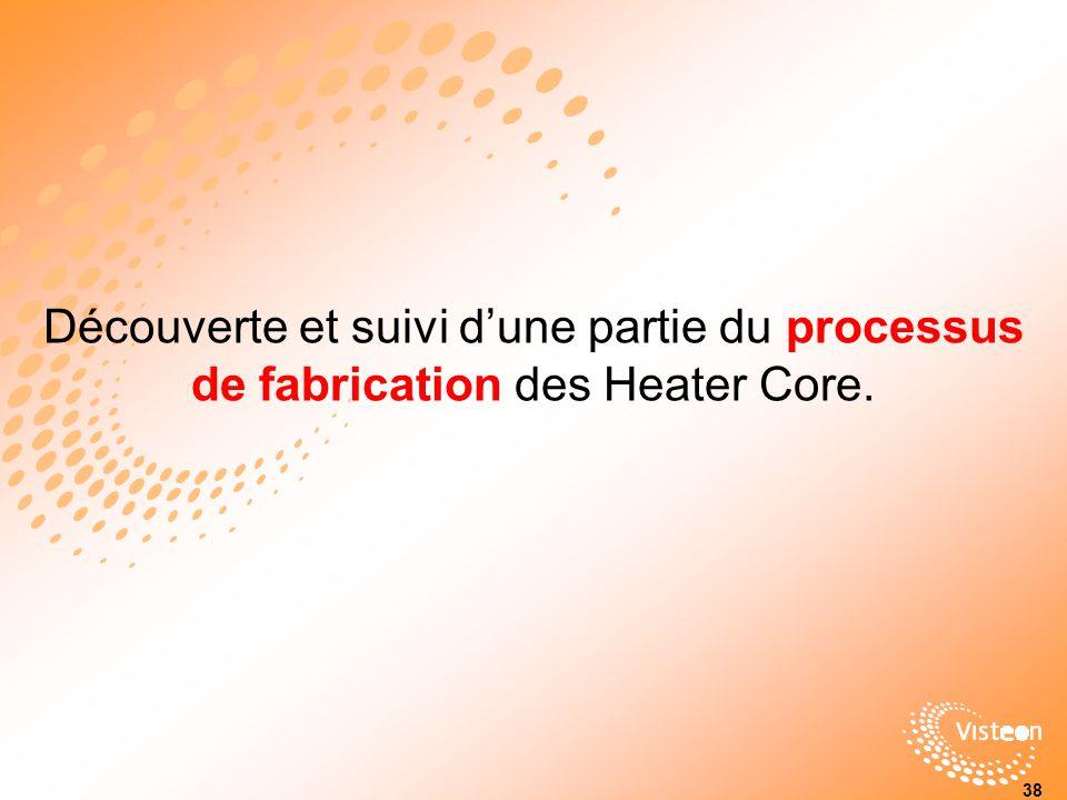 Découverte et suivi dune partie du processus de fabrication des Heater Core. 38