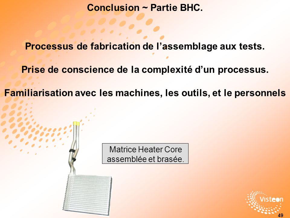 Conclusion ~ Partie BHC.Processus de fabrication de lassemblage aux tests.