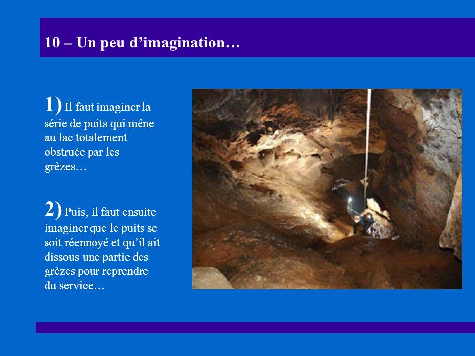 10 – Un peu dimagination… 1) Il faut imaginer la série de puits qui mêne au lac totalement obstruée par les grèzes… 2) Puis, il faut ensuite imaginer