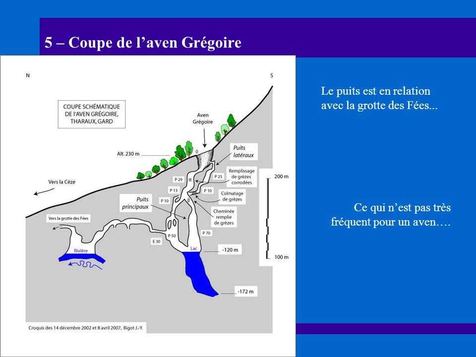 5 – Coupe de laven Grégoire Le puits est en relation avec la grotte des Fées... Ce qui nest pas très fréquent pour un aven….
