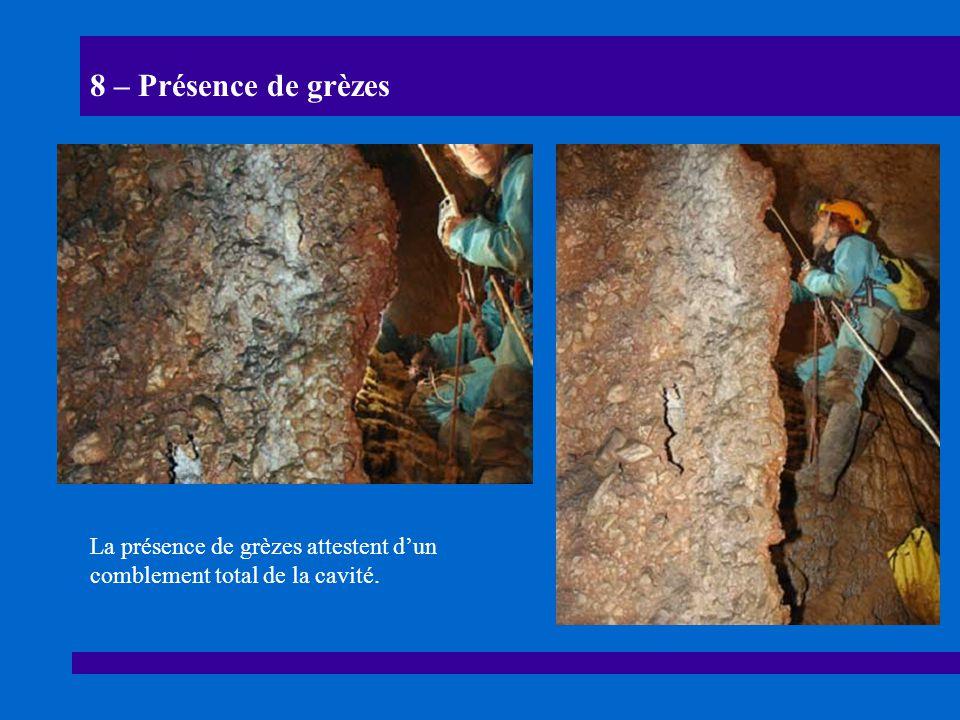 8 – Présence de grèzes La présence de grèzes attestent dun comblement total de la cavité.