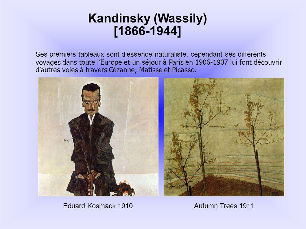 Kandinsky (Wassily) [1866-1944] Ses premiers tableaux sont dessence naturaliste, cependant ses différents voyages dans toute lEurope et un séjour à Pa