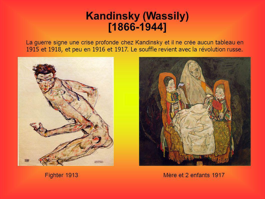 Kandinsky (Wassily) [1866-1944] La guerre signe une crise profonde chez Kandinsky et il ne crée aucun tableau en 1915 et 1918, et peu en 1916 et 1917.