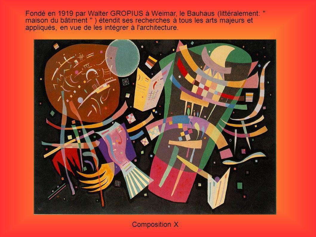 Fondé en 1919 par Walter GROPIUS à Weimar, le Bauhaus (littéralement: