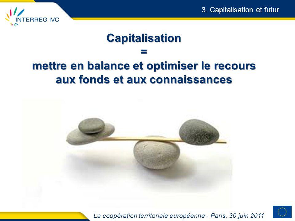 La coopération territoriale européenne - Paris, 30 juin 2011 Capitalisation= mettre en balance et optimiser le recours aux fonds et aux connaissances