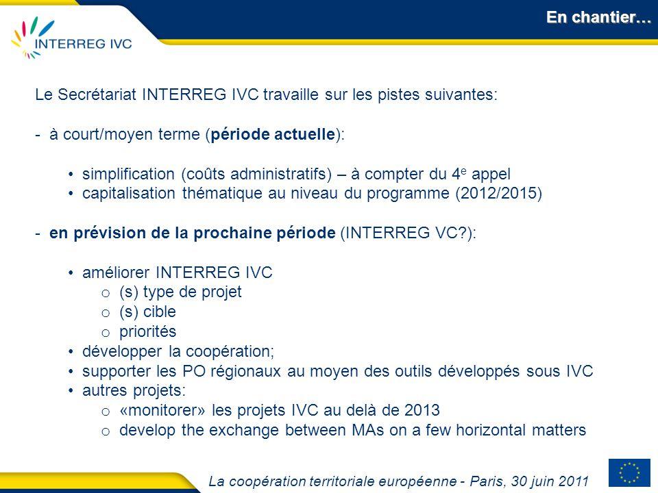 La coopération territoriale européenne - Paris, 30 juin 2011 En chantier… Le Secrétariat INTERREG IVC travaille sur les pistes suivantes: - à court/mo