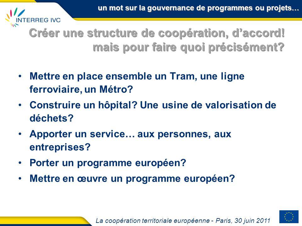 La coopération territoriale européenne - Paris, 30 juin 2011 Créer une structure de coopération, daccord! mais pour faire quoi précisément? Mettre en