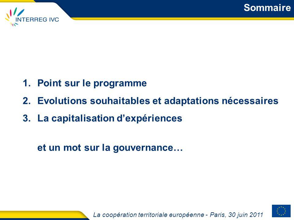 La coopération territoriale européenne - Paris, 30 juin 2011 1.Point sur le programme 2.Evolutions souhaitables et adaptations nécessaires 3.La capita