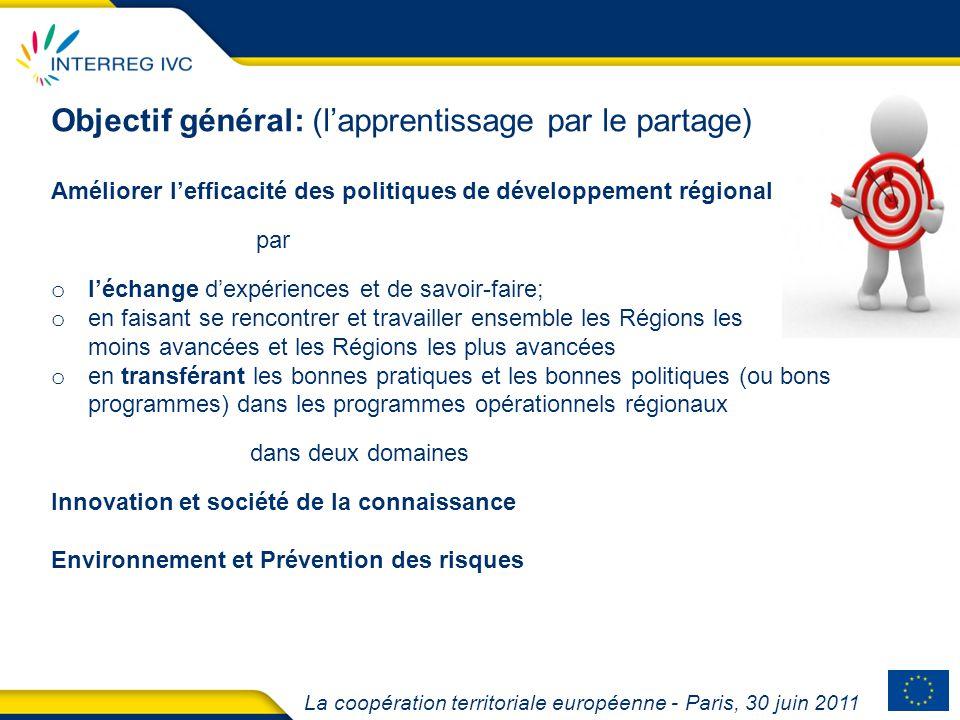 La coopération territoriale européenne - Paris, 30 juin 2011 Objectif général: (lapprentissage par le partage) Améliorer lefficacité des politiques de