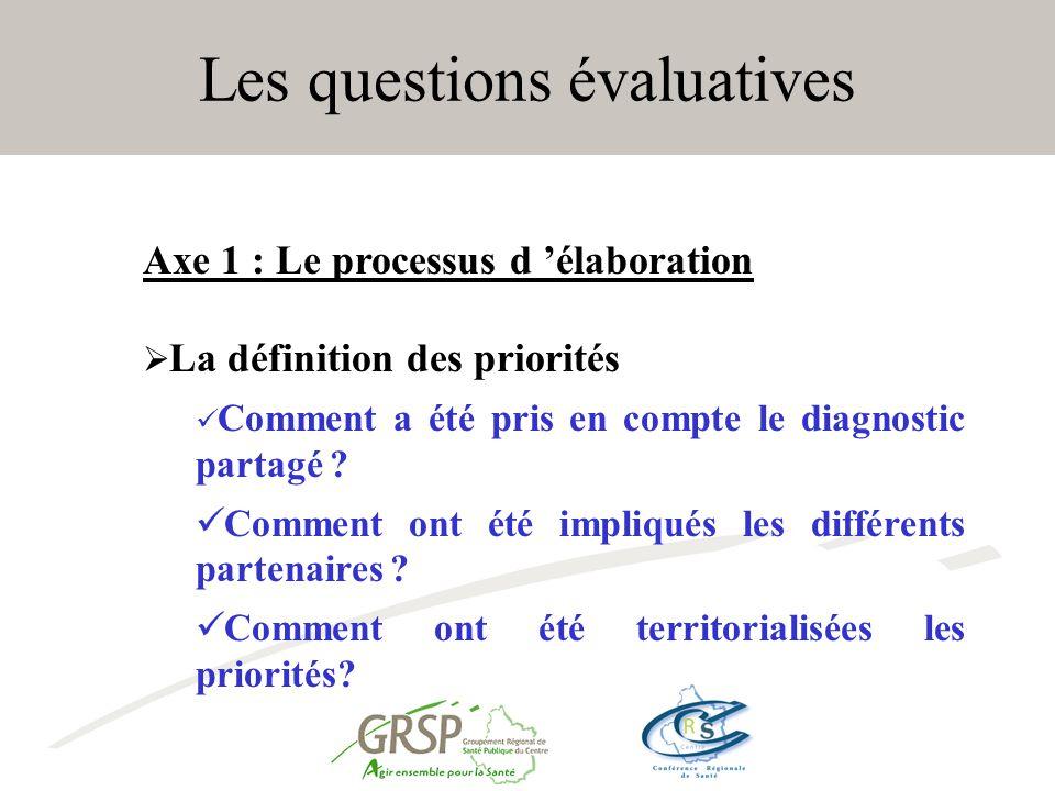 Les questions évaluatives Axe 1 : Le processus d élaboration La définition des priorités Comment a été pris en compte le diagnostic partagé .