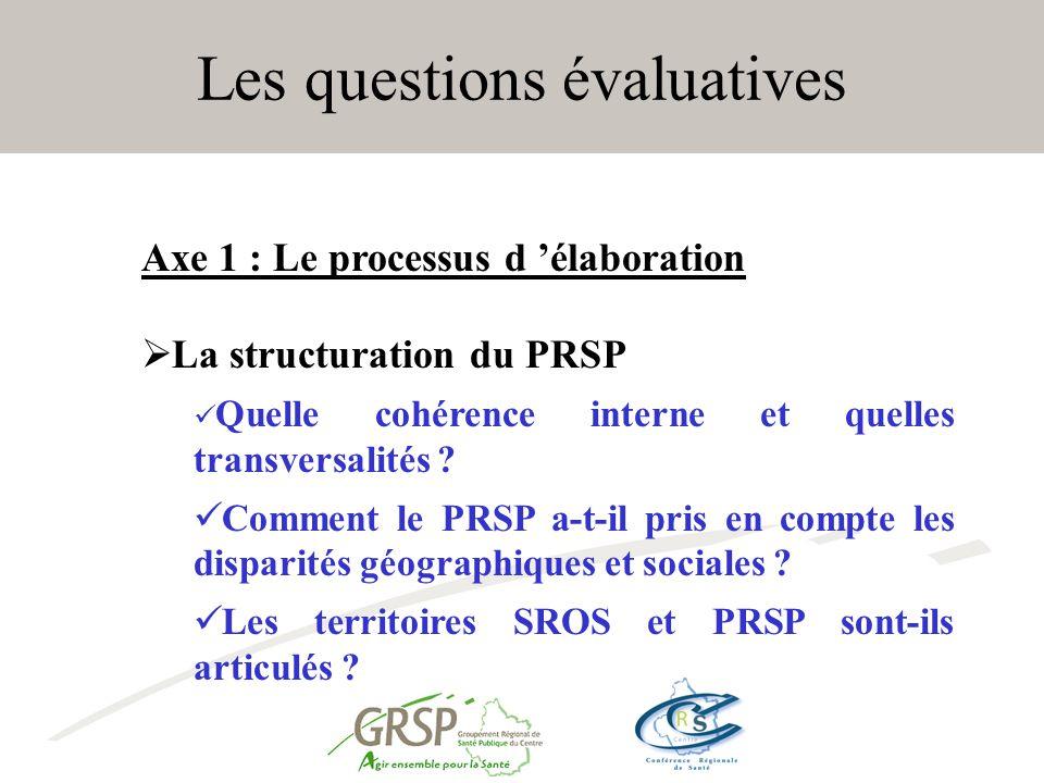 Les questions évaluatives Axe 1 : Le processus d élaboration La structuration du PRSP Quelle cohérence interne et quelles transversalités .