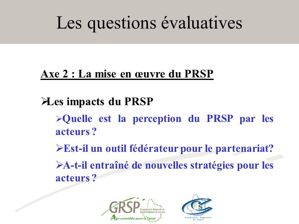 Les questions évaluatives Axe 2 : La mise en œuvre du PRSP Les impacts du PRSP Quelle est la perception du PRSP par les acteurs .