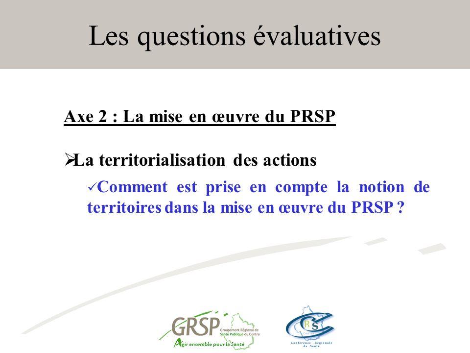 Les questions évaluatives Axe 2 : La mise en œuvre du PRSP La territorialisation des actions Comment est prise en compte la notion de territoires dans la mise en œuvre du PRSP ?