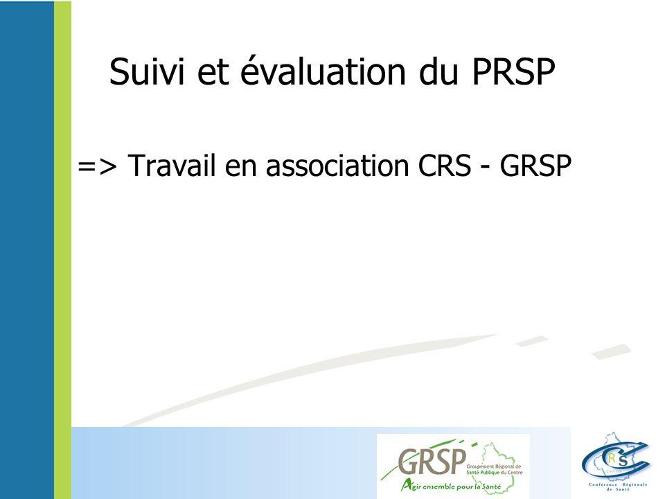 Suivi et évaluation du PRSP => Travail en association CRS - GRSP