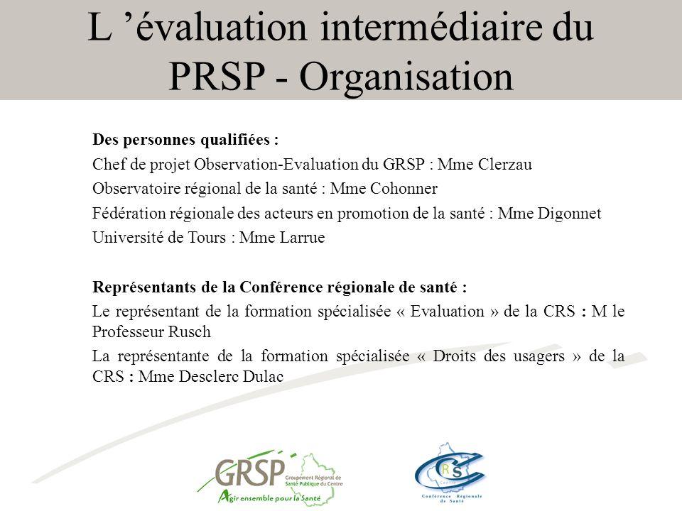 L évaluation intermédiaire du PRSP - Organisation Des personnes qualifiées : Chef de projet Observation-Evaluation du GRSP : Mme Clerzau Observatoire régional de la santé : Mme Cohonner Fédération régionale des acteurs en promotion de la santé : Mme Digonnet Université de Tours : Mme Larrue Représentants de la Conférence régionale de santé : Le représentant de la formation spécialisée « Evaluation » de la CRS : M le Professeur Rusch La représentante de la formation spécialisée « Droits des usagers » de la CRS : Mme Desclerc Dulac