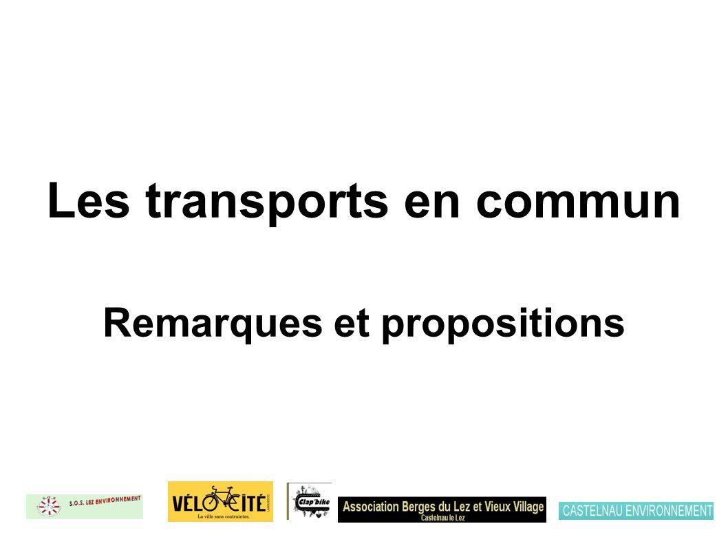 Les transports en commun Remarques et propositions