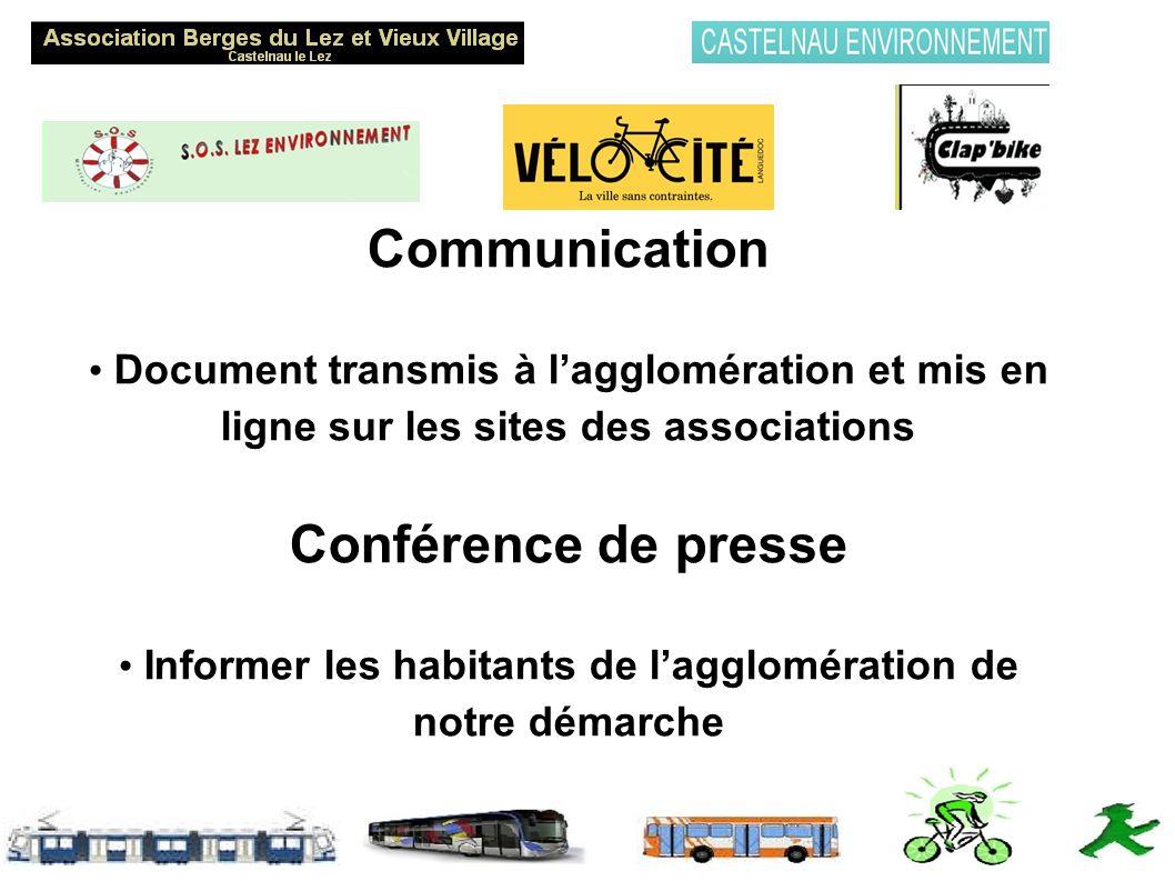 Communication Document transmis à lagglomération et mis en ligne sur les sites des associations Conférence de presse Informer les habitants de lagglomération de notre démarche