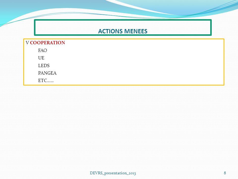 8DEVRS_presentation_2013 V COOPERATION FAO UE LEDS PANGEA ETC…… ACTIONS MENEES