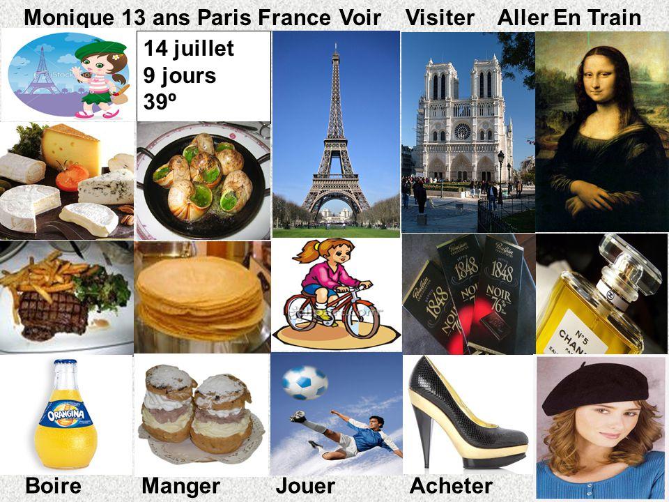 14 juillet 9 jours 39º º Monique 13 ans Paris FranceVoir Visiter Aller En Train Boire Manger Jouer Acheter