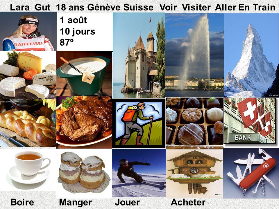 1 août 10 jours 87º º Lara Gut 18 ans Génève Suisse Voir Visiter Aller En Train Boire Manger Jouer Acheter