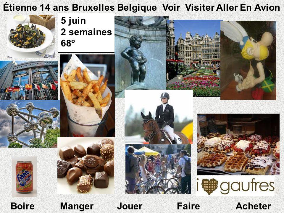 5 juin 2 semaines 68º º Étienne 14 ans Bruxelles Belgique Voir Visiter Aller En Avion Boire Manger Jouer Faire Acheter