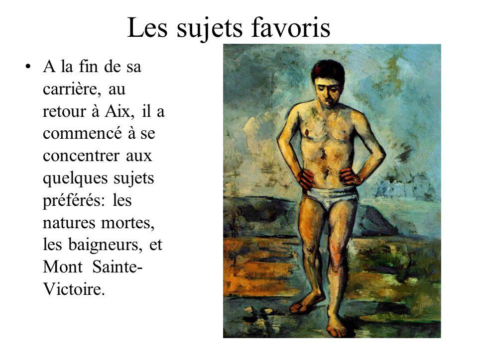 Les sujets favoris A la fin de sa carrière, au retour à Aix, il a commencé à se concentrer aux quelques sujets préférés: les natures mortes, les baign