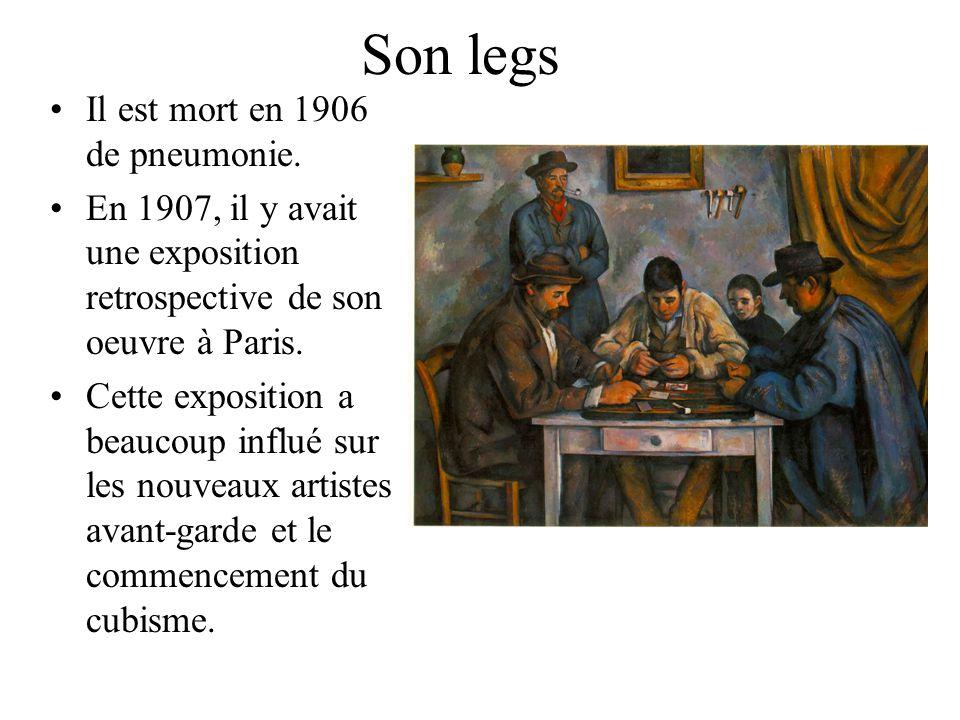 Son legs Il est mort en 1906 de pneumonie. En 1907, il y avait une exposition retrospective de son oeuvre à Paris. Cette exposition a beaucoup influé
