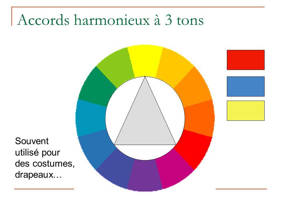 Accords harmonieux à 3 tons Souvent utilisé pour des costumes, drapeaux…