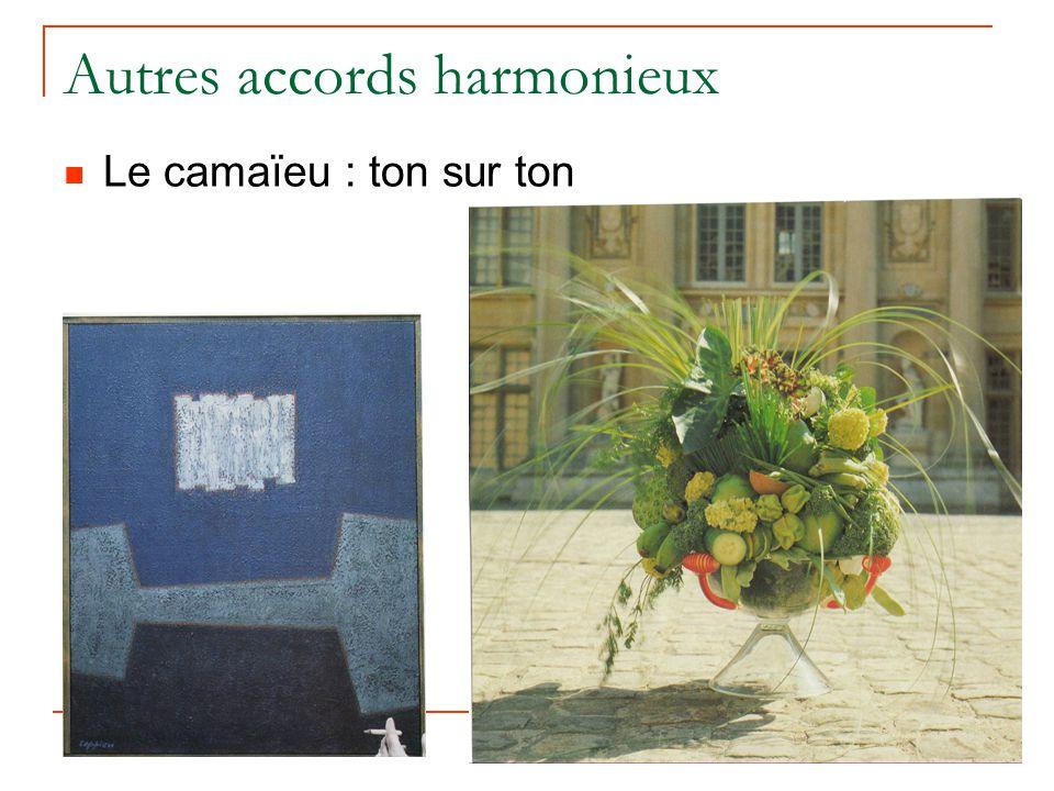 Autres accords harmonieux Le camaïeu : ton sur ton