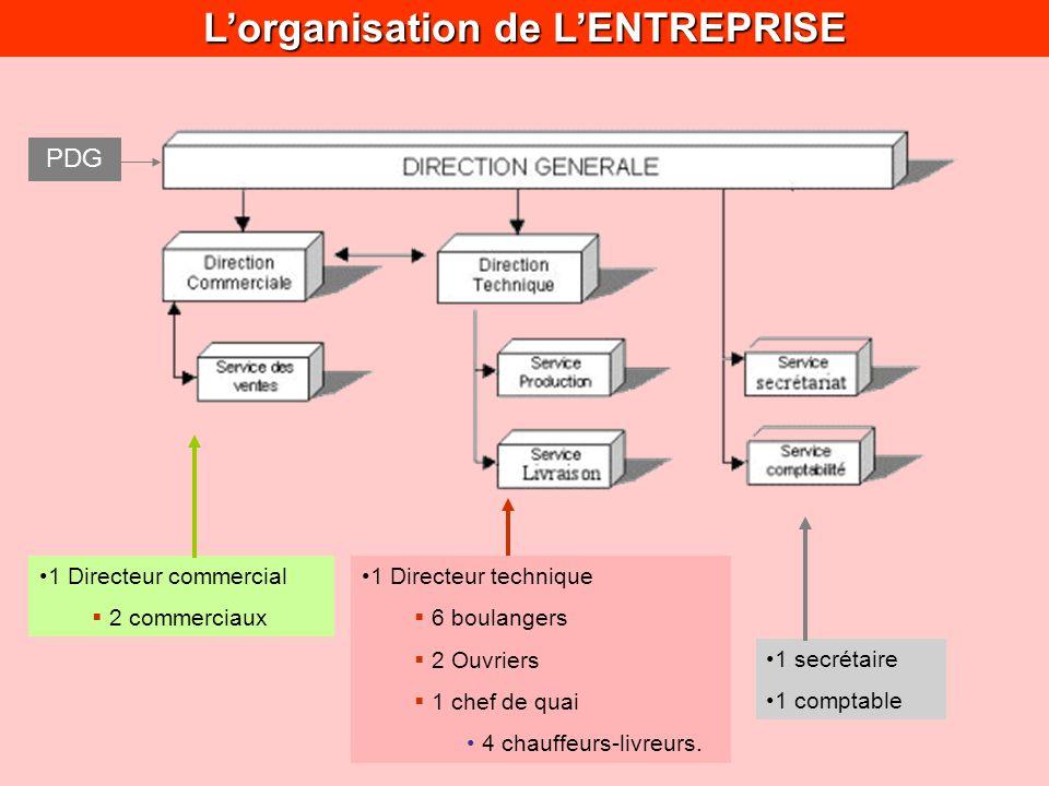 Lorganisation de LENTREPRISE 1 Directeur commercial 2 commerciaux 1 Directeur technique 6 boulangers 2 Ouvriers 1 chef de quai 4 chauffeurs-livreurs.
