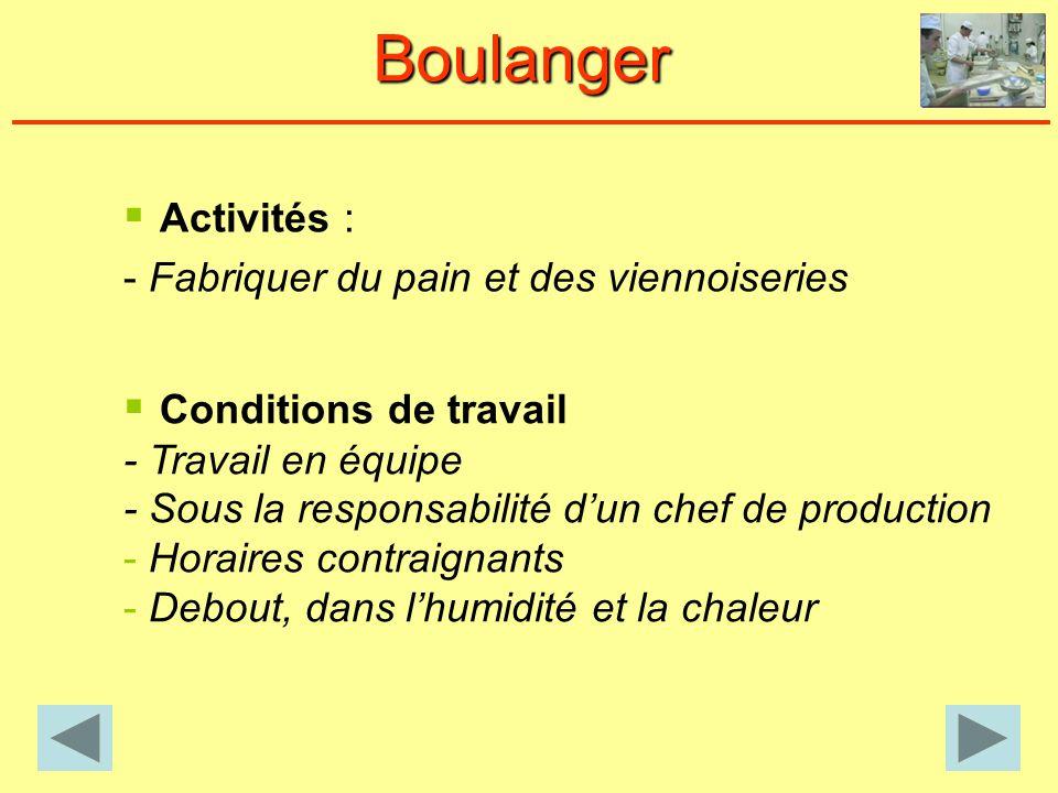 Boulanger Activités : - Fabriquer du pain et des viennoiseries Conditions de travail - Travail en équipe - Sous la responsabilité dun chef de production - Horaires contraignants - Debout, dans lhumidité et la chaleur