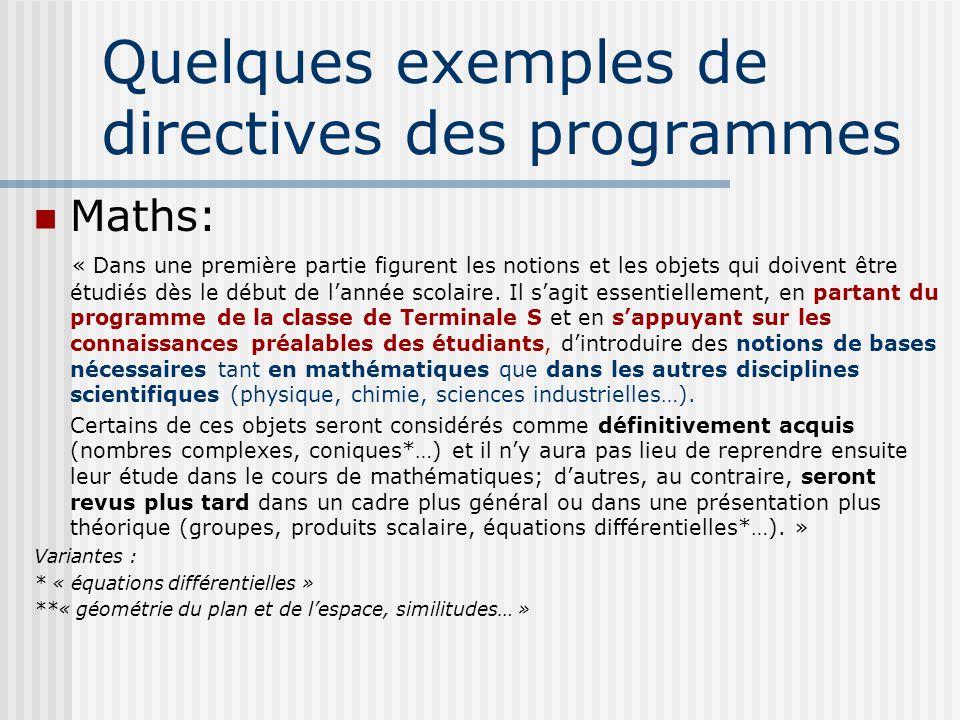 Quelques exemples de directives des programmes Maths: « Dans une première partie figurent les notions et les objets qui doivent être étudiés dès le dé