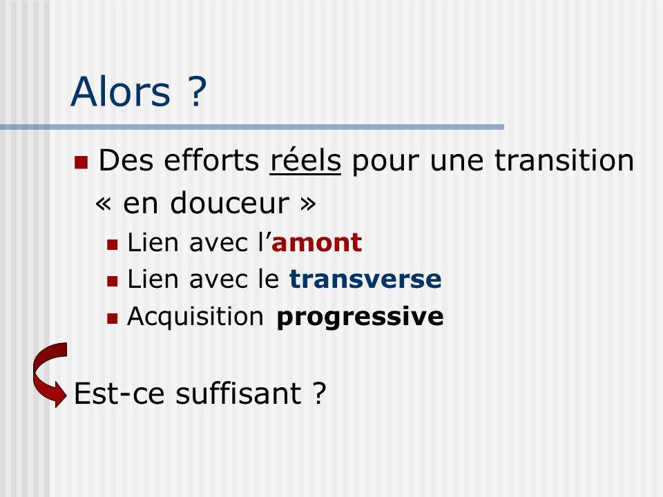 Alors ? Des efforts réels pour une transition « en douceur » Lien avec lamont Lien avec le transverse Acquisition progressive Est-ce suffisant ?
