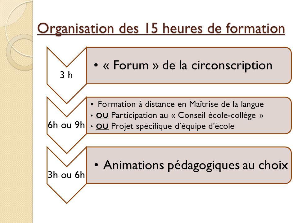 Organisation des 15 heures de formation 3 h « Forum » de la circonscription 6h ou 9h Formation à distance en Maîtrise de la langue OU Participation au