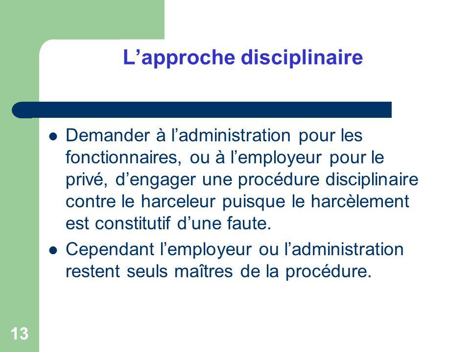 13 Lapproche disciplinaire Demander à ladministration pour les fonctionnaires, ou à lemployeur pour le privé, dengager une procédure disciplinaire con