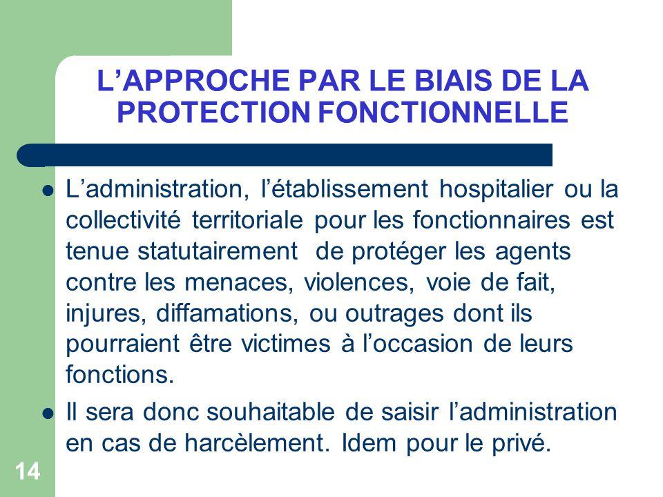 14 LAPPROCHE PAR LE BIAIS DE LA PROTECTION FONCTIONNELLE Ladministration, létablissement hospitalier ou la collectivité territoriale pour les fonction