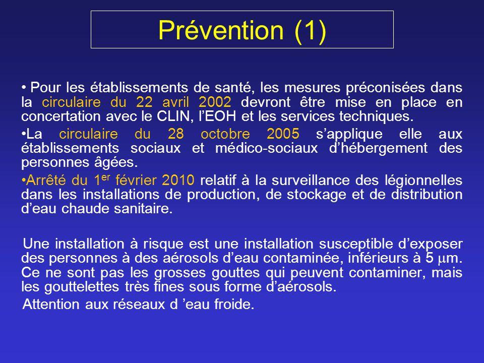Prévention (1) Pour les établissements de santé, les mesures préconisées dans la circulaire du 22 avril 2002 devront être mise en place en concertatio