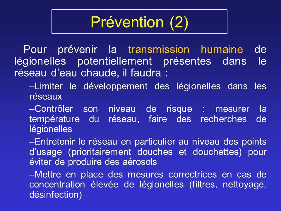 Prévention (2) Pour prévenir la transmission humaine de légionelles potentiellement présentes dans le réseau deau chaude, il faudra : –Limiter le déve