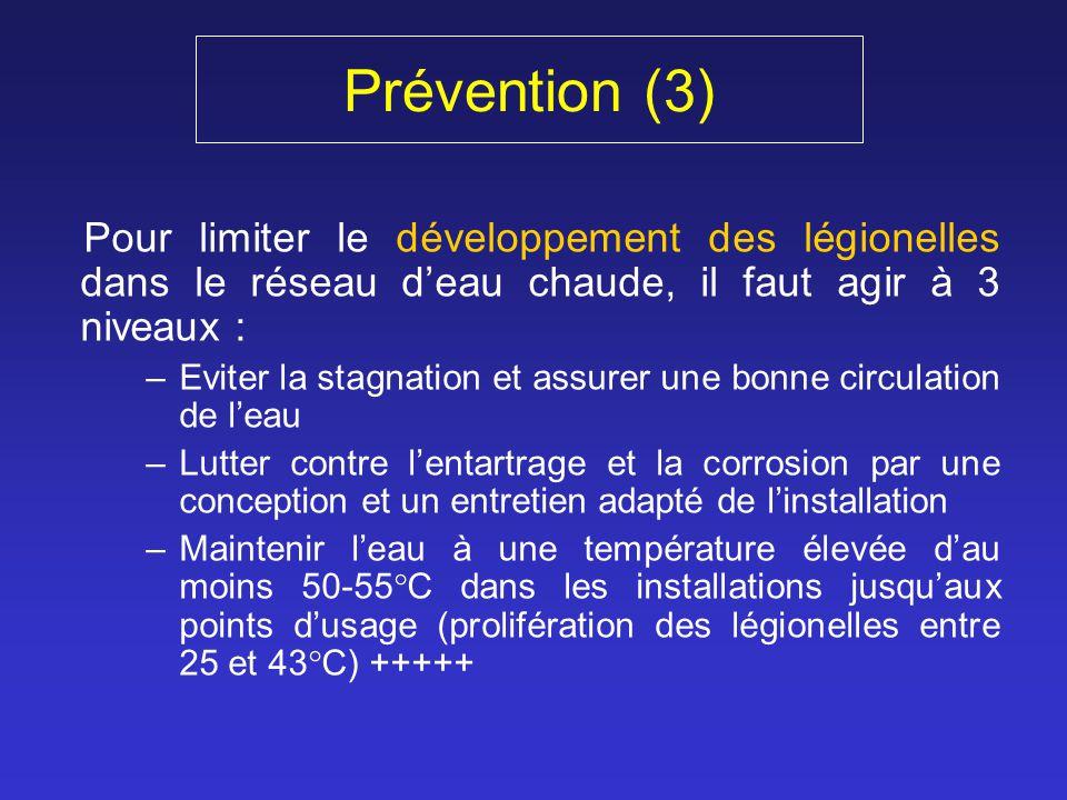 Prévention (3) Pour limiter le développement des légionelles dans le réseau deau chaude, il faut agir à 3 niveaux : –Eviter la stagnation et assurer u