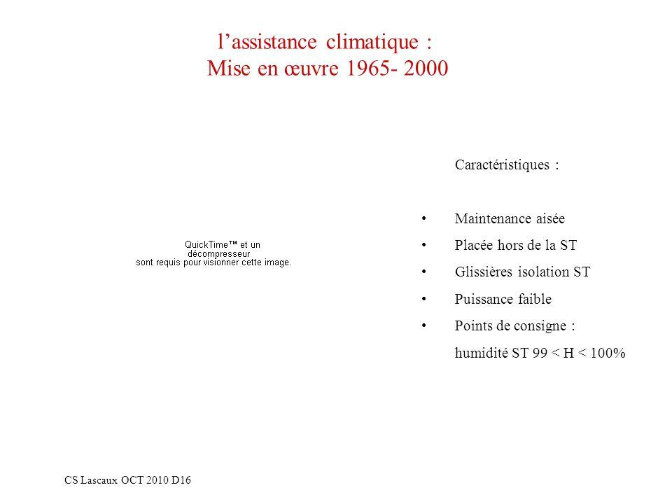 lassistance climatique : Mise en œuvre 1965- 2000 CS Lascaux OCT 2010 D16 Caractéristiques : Maintenance aisée Placée hors de la ST Glissières isolati