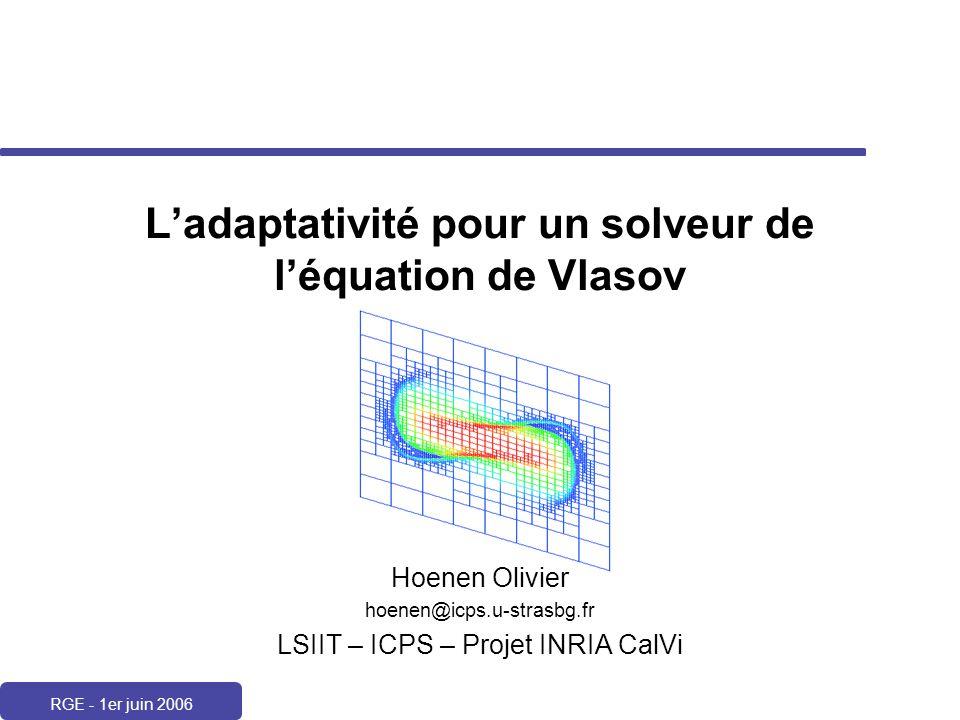 RGE - 1er juin 2006 Ladaptativité pour un solveur de léquation de Vlasov Hoenen Olivier hoenen@icps.u-strasbg.fr LSIIT – ICPS – Projet INRIA CalVi