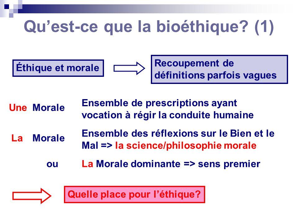 Quest-ce que la bioéthique? (1) Éthique et morale Recoupement de définitions parfois vagues Morale Ensemble de prescriptions ayant vocation à régir la
