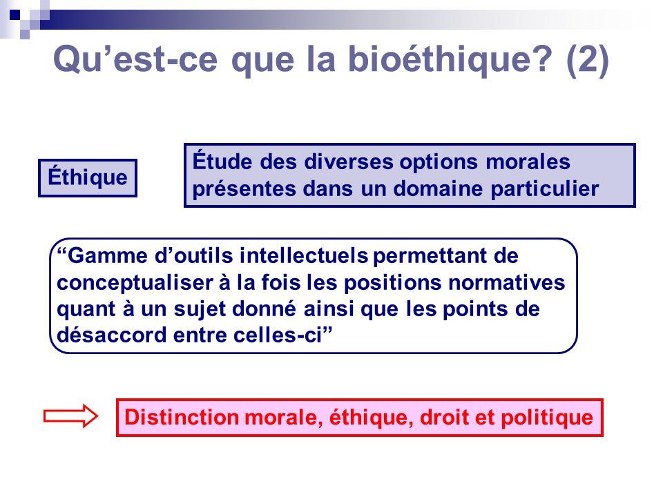 Quest-ce que la bioéthique? (2) Éthique Étude des diverses options morales présentes dans un domaine particulier Gamme doutils intellectuels permettan